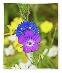 Flowers In The Meadow. Fleece Blanket
