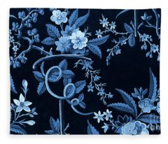 Flowers On Dark Background, Textile Design Fleece Blanket