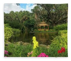 Flowers To Gazebo By The Lake Fleece Blanket