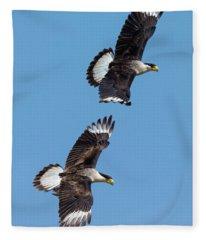 Flying Caracaras Fleece Blanket
