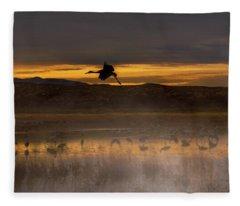 Flying Over Crane Pond Fleece Blanket