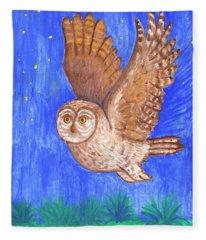 Flying Owl Fleece Blanket