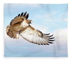Flying Red-tailed Hawk Fleece Blanket
