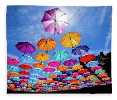 Flying Umbrellas II Fleece Blanket