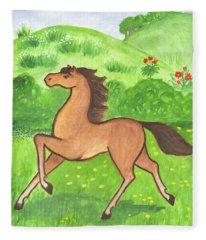 Foal In The Meadow Fleece Blanket