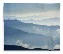 Fog Above Mountain In Valley Himalayas Mountains Fleece Blanket