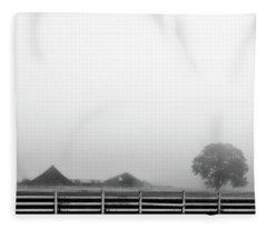 Fog And The Farm Fleece Blanket