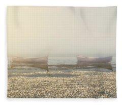 Fog On Lake Fleece Blanket