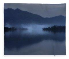 Fog On The Dark Mountain Lake Fleece Blanket