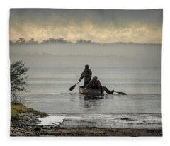 'fog On The Mighty Cape Fear Fleece Blanket