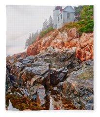 Foggy Bass Harbor Lighthouse Fleece Blanket