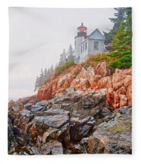 Foggy Bass Harbor Lighthouse Fleece Blanket