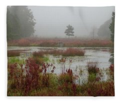 Foggy Morning At Cloverdale Farm Fleece Blanket