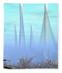 Foggy Morning At The Indian River Inlet Bridge Fleece Blanket
