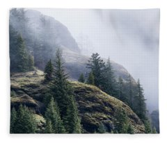 Foggy On Saddle Mountain Fleece Blanket