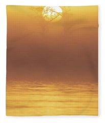 Foggy Wetlands Sunrise Fleece Blanket