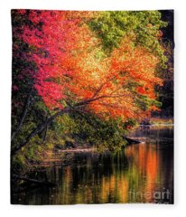 Foliage Over Forge Pond Fleece Blanket
