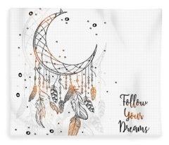 Follow Your Dreamcatcher - Boho Chic Ethnic Nursery Art Poster Print Fleece Blanket