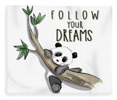 Follow Your Dreams - Baby Room Nursery Art Poster Print Fleece Blanket