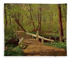 Footbridge Through The Woods Fleece Blanket
