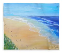 Footprints In The Sand Fleece Blanket