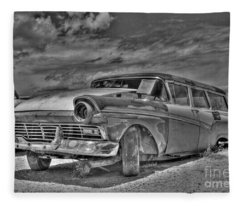 Ford Country Squire Wagon - Bw Fleece Blanket