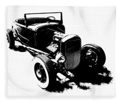 Ford Flathead Roadster Two Blk Fleece Blanket