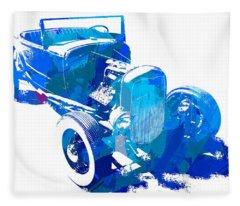 Ford Flathead Roadster Two Blue Pop Fleece Blanket