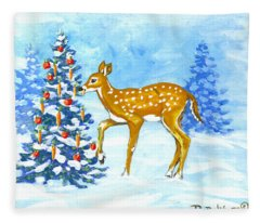 Forest Christmas Banquet Sketch Fleece Blanket