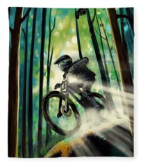 Forest Jump Mountain Biker Fleece Blanket