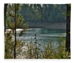 Forest Lake In Amendoa Fleece Blanket