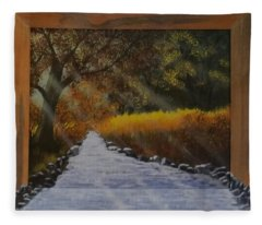 Forest Sunrays Over Water Fleece Blanket