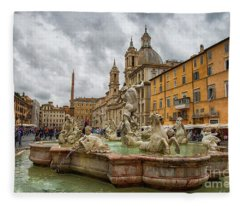 Fountain Of Neptune Rome Italy Fleece Blanket