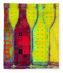 Four Bottles In Abstract Squares 20190129a Fleece Blanket