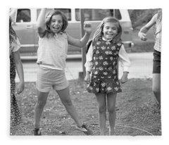 Four Girls, Jumping, 1972 Fleece Blanket