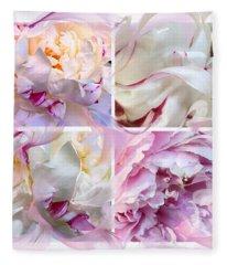 Four Peonies  Fleece Blanket