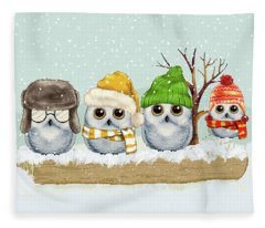 Four Winter Owls Fleece Blanket