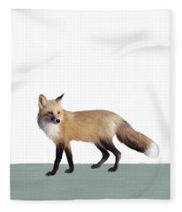 Fox On Sage Fleece Blanket