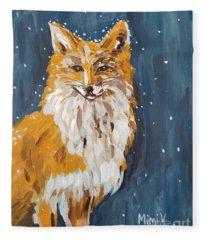Fox Winter Night Fleece Blanket