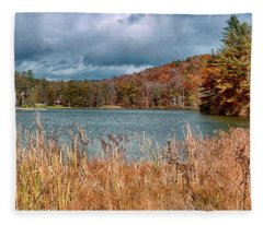 Framed Lake Fleece Blanket