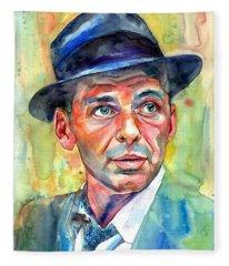 Frank Sinatra Wearing A Fedora Fleece Blanket
