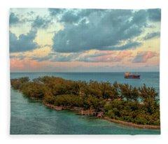 Freighter Off Paradise Island Fleece Blanket