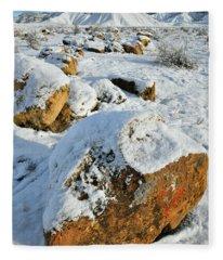 Fresh Snow On Book Cliffs Boulders Fleece Blanket