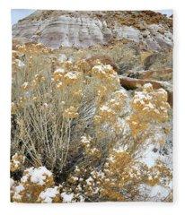 Fresh Snow On Rabbit Brush And Bentonite Dunes Fleece Blanket