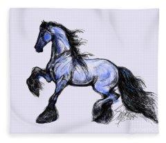 Friesian Mare Fleece Blanket