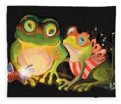 Frogs Overlay  Fleece Blanket
