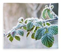 Frosty Leaves Fleece Blanket