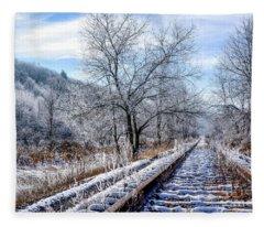 Frosty Morning On The Railroad Fleece Blanket