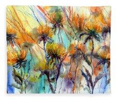 Frozen Chrysanthemums Fleece Blanket