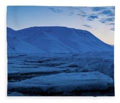 frozen coastline near Longyearbyen Fleece Blanket